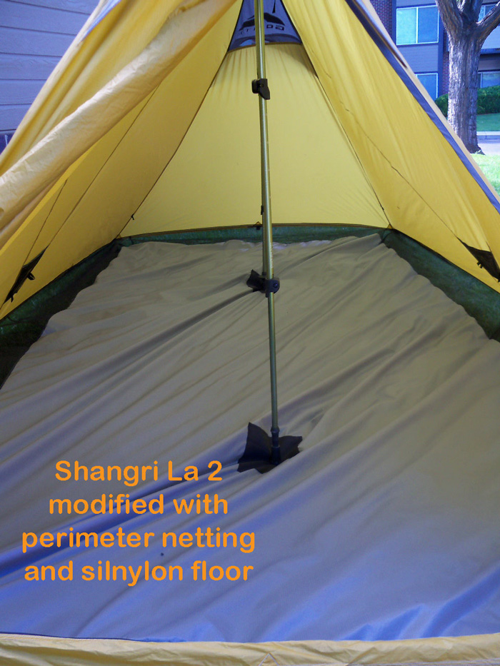 Golite Shangri la 2 modified with perimeter netting and floor & BearPaw WD custom page